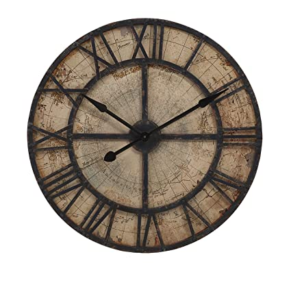 Imax 18308 Bryan Map Wall Clock   Oversized Wall Clock, Vintage Inspired  Quartz Clock,