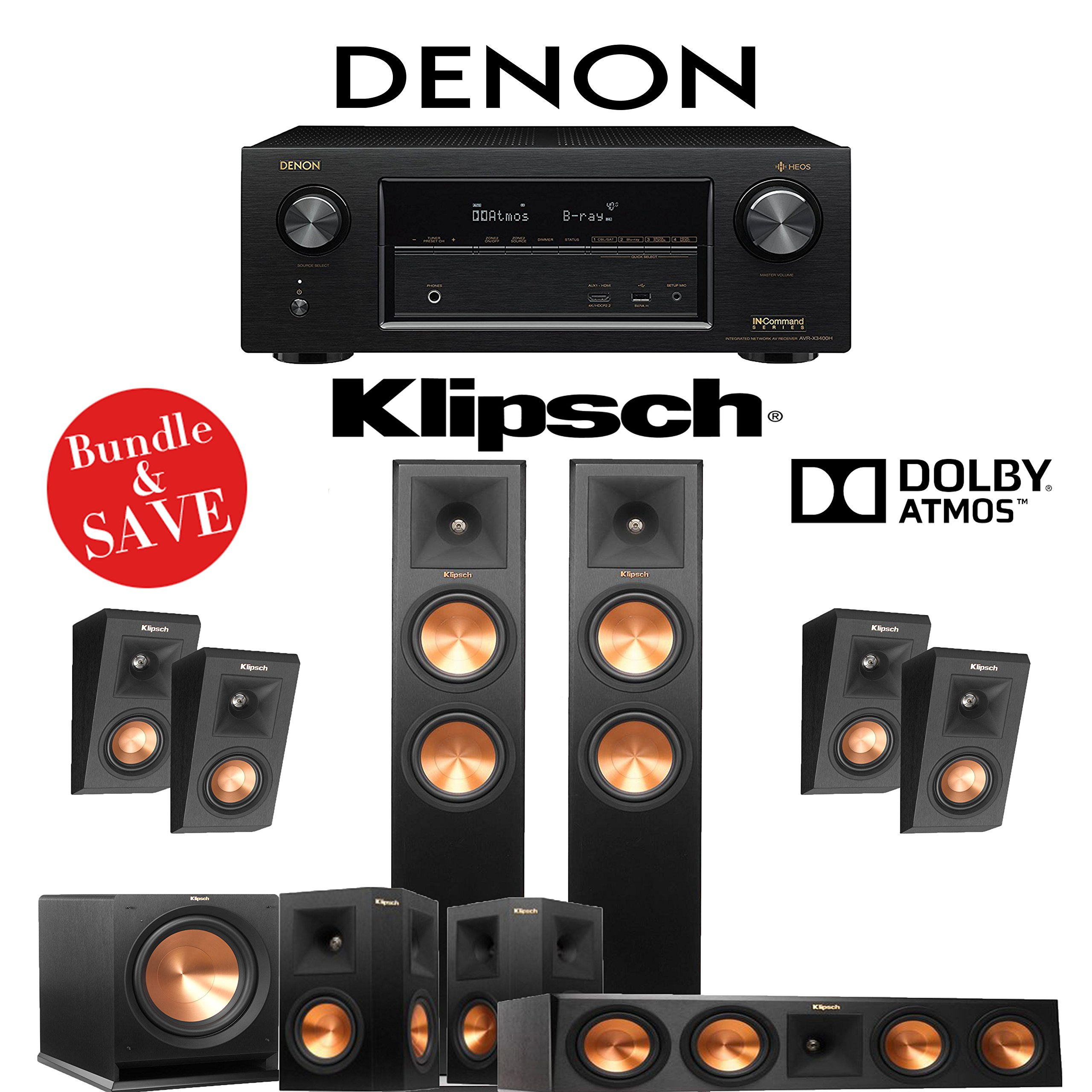 Klipsch RP-260F 5.1.4-Ch Reference Premiere Dolby Atmos Home Theater System with Denon AVR-X3400H 7.2-Channel 4K Network AV Receiver