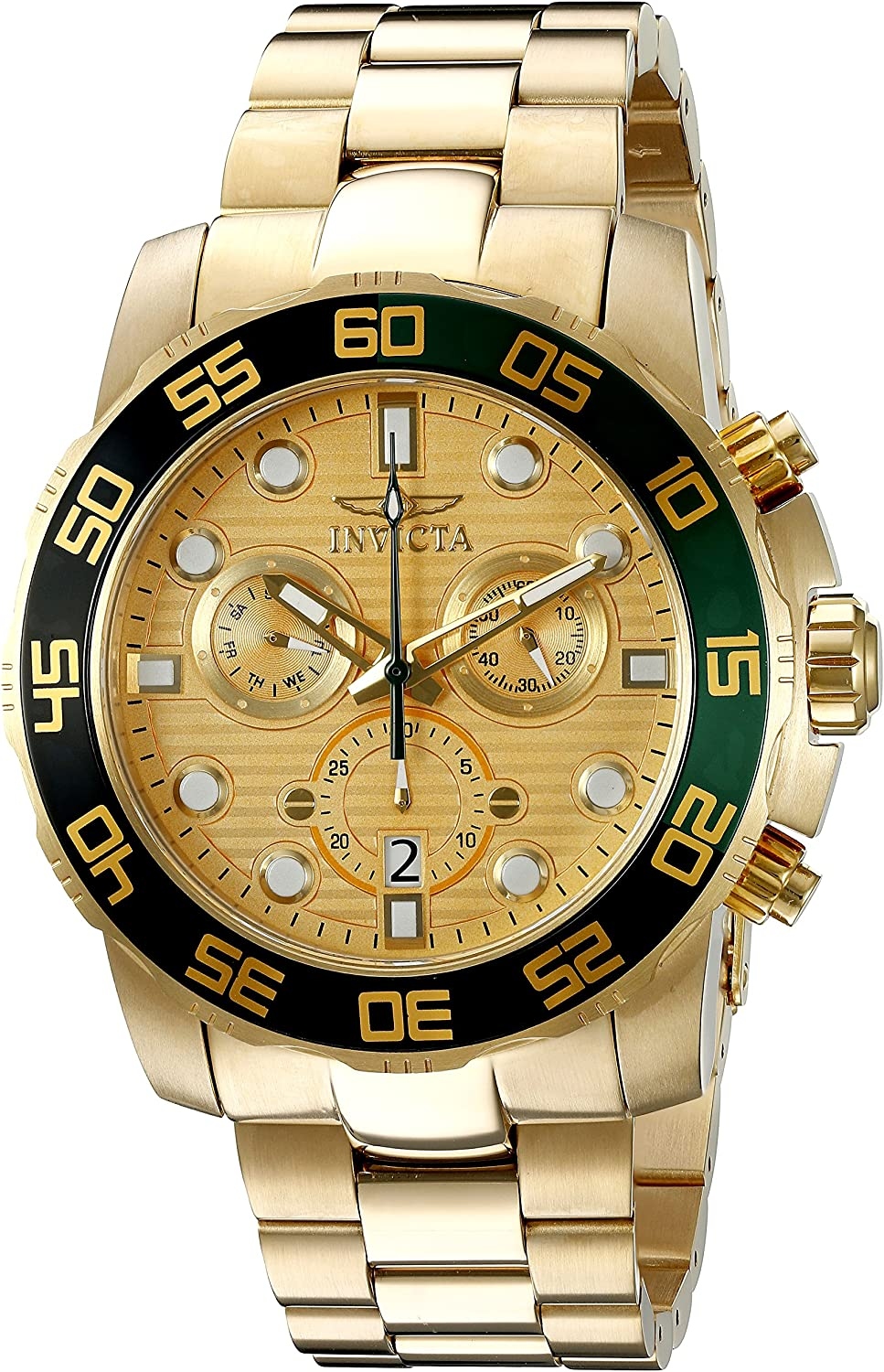 Invicta Men s 21554 Pro Diver Analog Display Swiss Quartz Gold-ToneWatch