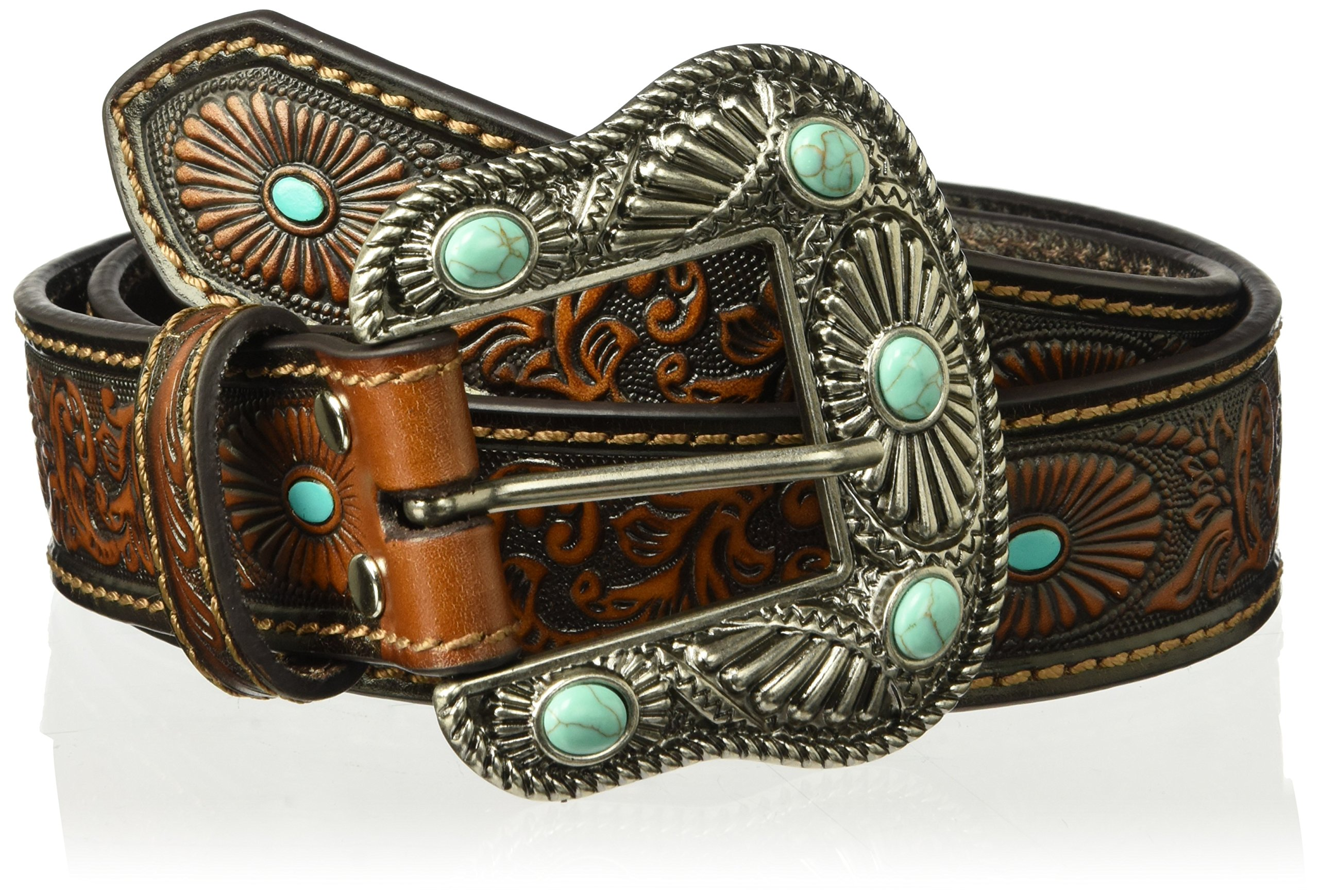 Nocona Belt Co. Women's Scroll Embossed Painted Turquoise Oval Belt, brown, Small