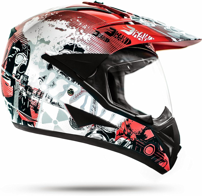 con visera, ECE 2205 color rojo ATO 804 GS War Casco de motociclismo