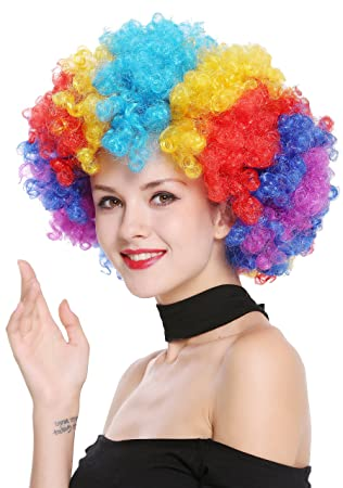 WIG ME UP ® - PW0011 Peluca Afro Gigantesca XXL Carnaval Halloween, Colores del Arco