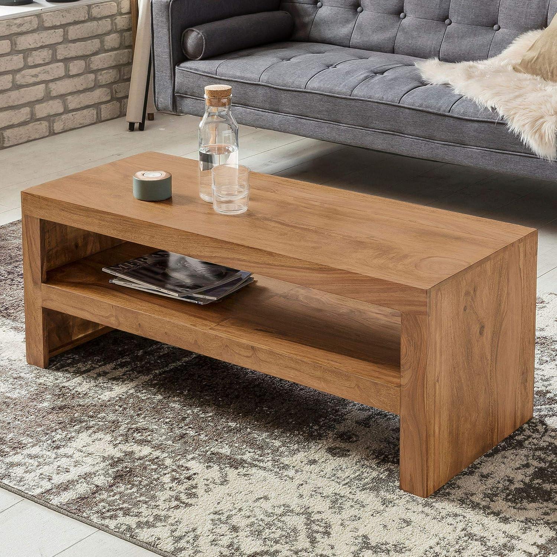 FineBuy Couchtisch Massiv-Holz Akazie 110 cm breit Wohnzimmer-Tisch Design dunkel-braun Landhaus-Stil Beistelltisch Natur-Produkt Wohnzimmermöbel Unikat modern Massivholzmöbel Echtholz rechteckig