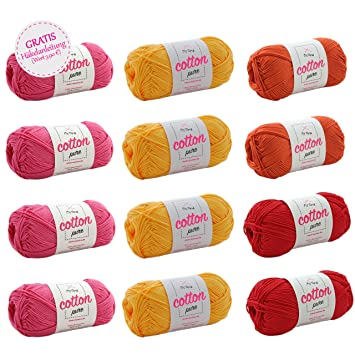 Wollset Baumwolle + GRATIS Häkelanleitung * Wollmix Gerbera groß ...