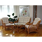 Malibu Rattan Wicker Living Room Set 4 Pieces 2 Lounge Chair Loveseat/sofa  Coffee Table
