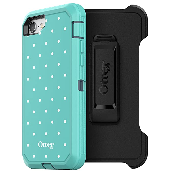 uk availability 40a21 b857a OtterBox DEFENDER SERIES Case for iPhone 8 & iPhone 7 (NOT Plus) - Retail  Packaging - MINT DOT (TEMPEST BLUE/AQUA MINT/MINT DOT GRAPHIC)