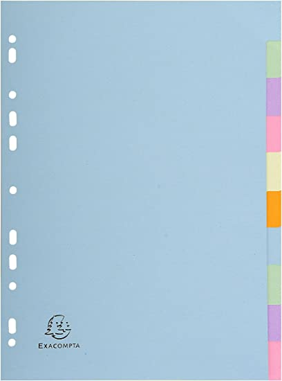 100/% Recycled 1612E Exacompta Forever 12 Part A4 Plain Multi-Coloured Dividers
