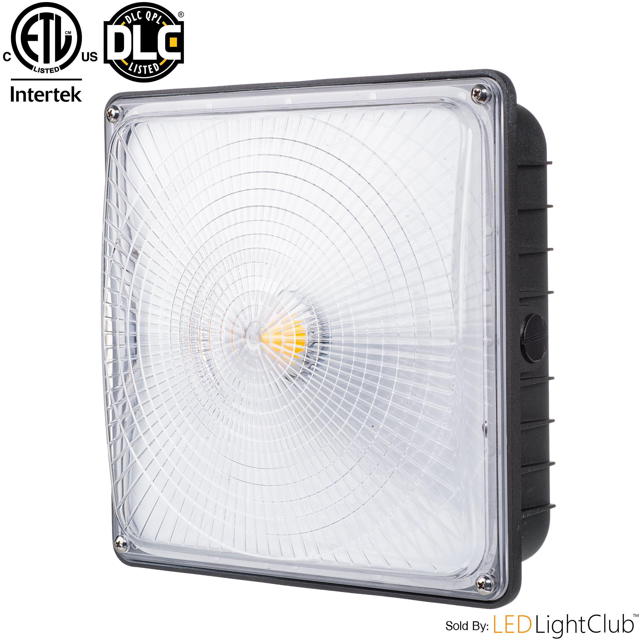 "Parmida LED Canopy Light, 45W, 0-10V Dimmable, 5200lm, 110-277VAC, IP65 WATERPROOF, DLC-Qualified & ETL-Listed, 5000K (Day Light), 9.6"" x 9.6"", Gas Station, Street, Area & Outdoor Lighting, Commercial"