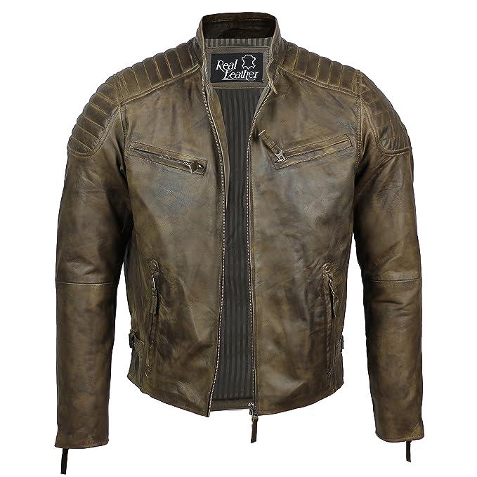 premium selection 9bbc6 8b68c Aviatrix Herren Lederjacke, echtes Weiches Leder, Schlankes Design,  Antik-Look, ausgewaschene Optik, Retro-Stil, Biker-Jacke, Braun