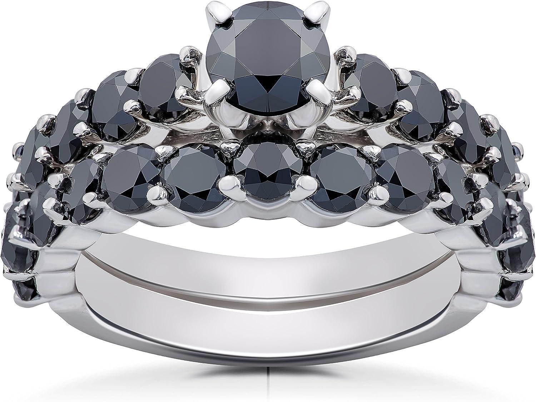 White Diamond Round Cut 925 Sterling Silver Women/'s Engagement Bridal Wedding Ring Set 14K Black Gold Finish