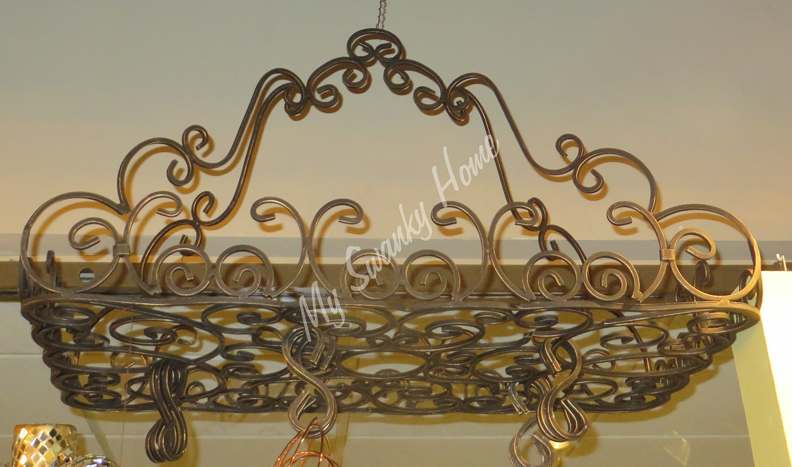 Ornate Wrought Iron French Scroll Pot Rack | Hanging Pan Ceiling Gothic