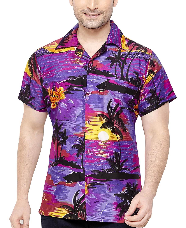 TALLA M. CLUB CUBANA Camisa Hawaiana Florar Casual Manga Corta Ajustado para Hombre