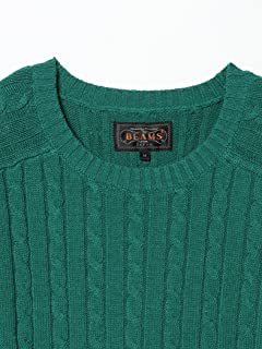 Blended Linen Cotton Cable Crewneck Sweater 11-15-0812-103: Green