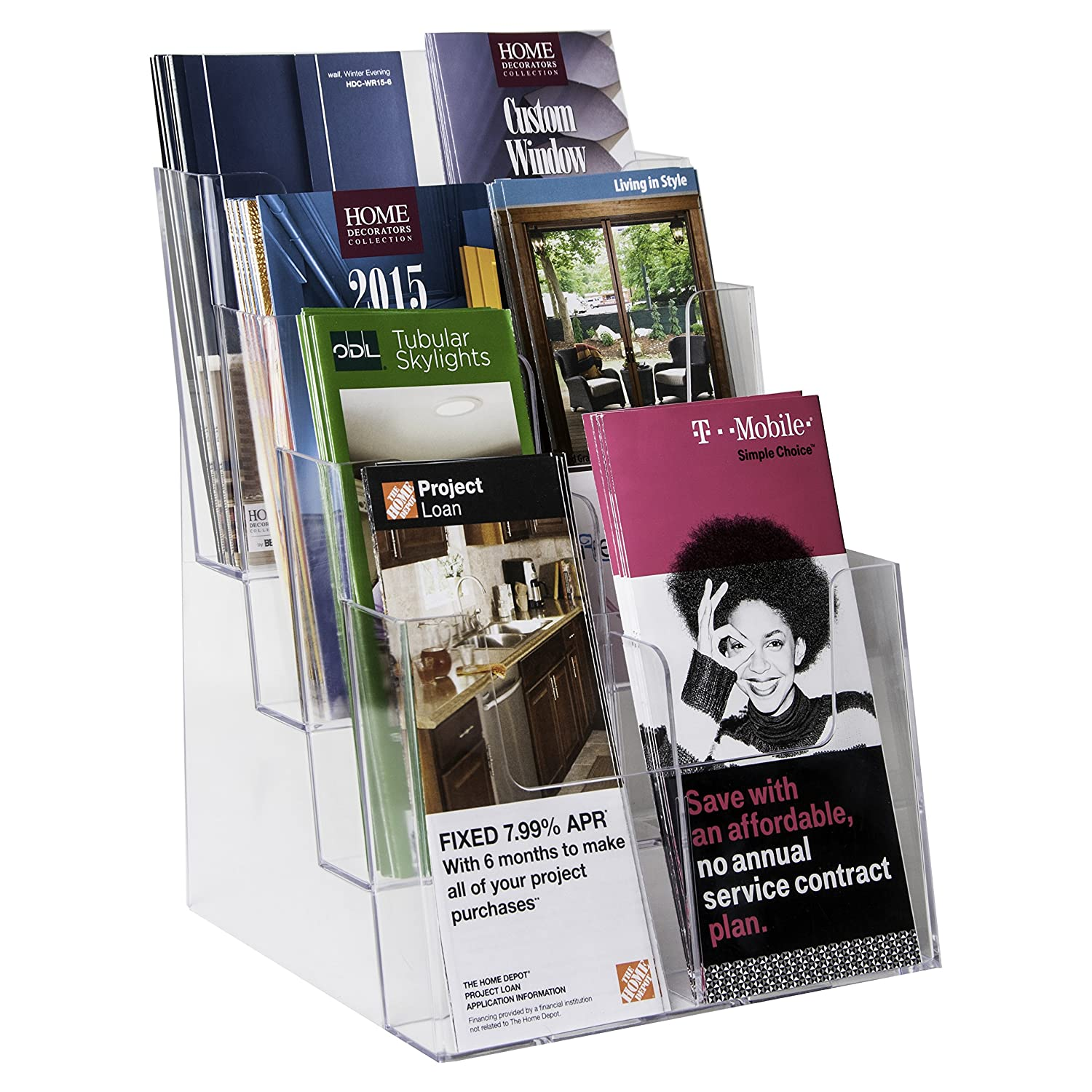Clear-Ad - LHF-S84 - Plastic Rack Card Literature Display Holder - Acrylic 4 Tier 8 Pocket Brochure Organizer - Desktop or Wall Mount Leaflet Rack - Tabletop Multiple Pamphlet Stand 8.5x11 (Pack of 4)