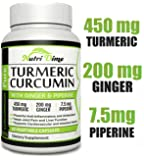 Turmeric Curcumin Ginger Capsules - 60 Organic root pills with Bioperine (Black Pepper extract) - Premium Cardiovascular, Pain Relief & Joint Support supplement with 95% Standardized Curcuminoids