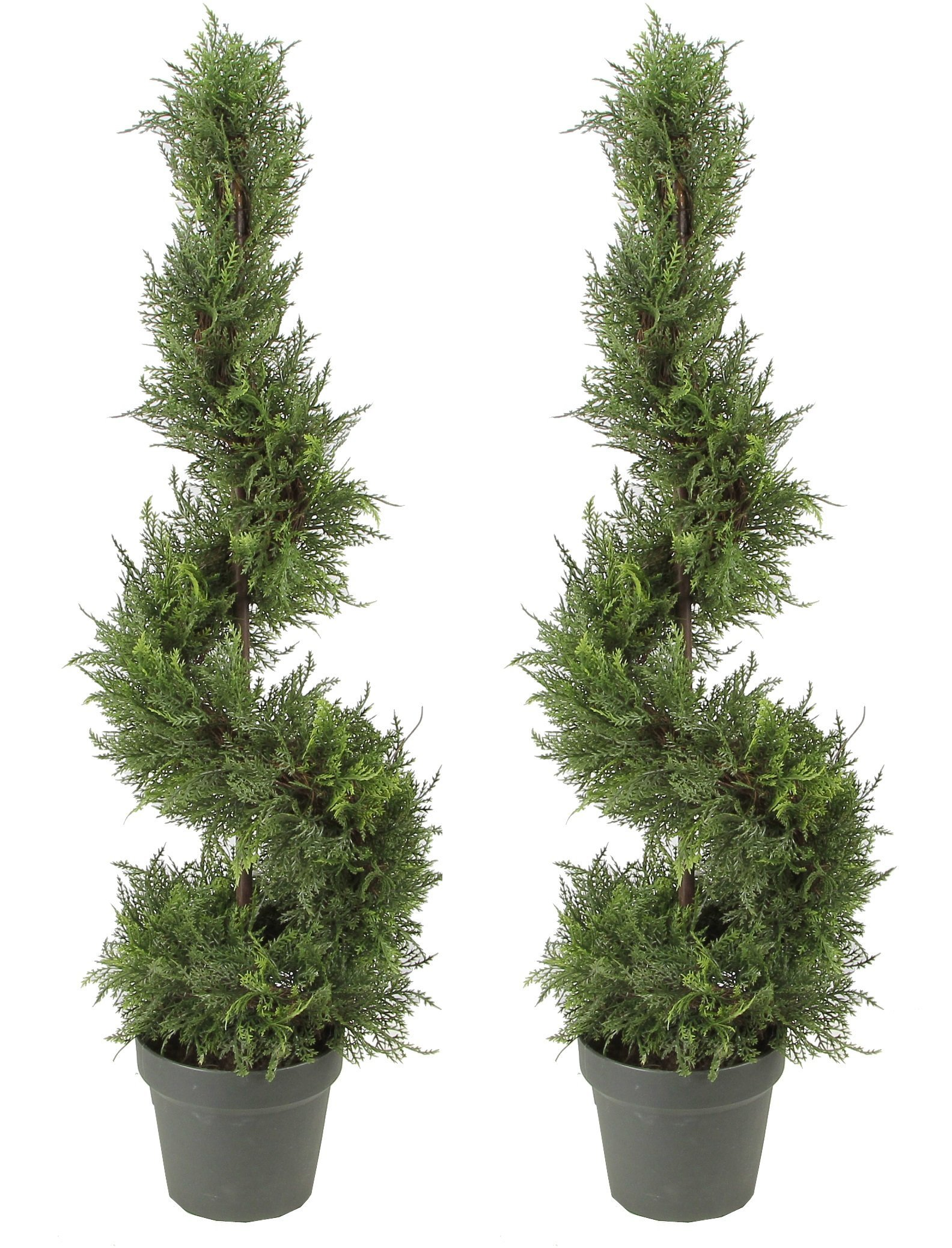 Admired by Nature 2 x 3' Artificial Cypress Leave Spiral Topiary Plant Tree in Plastic Pot, Green