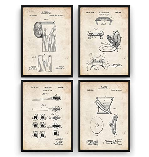 Bathroom Patent Prints Set Of 4 Vintage Wall Art Toilet Poster Decor Old Blueprint Gift Frame Not Included Amazon Co Uk Handmade