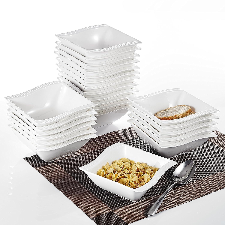 Series Flora 14 * 14.5 * 5.5cm MALACASA 6-Piece 5.75 inch 12 Ounce China Ceramic Cream White Porcelain Cereal Bowl 6-Piece Cereal Bowl Set of 6