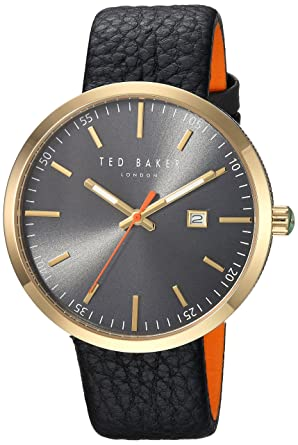 49b76e32cf80 Ted Baker Men s Jack Stainless Steel Japanese-Quartz Watch with Leather  Strap