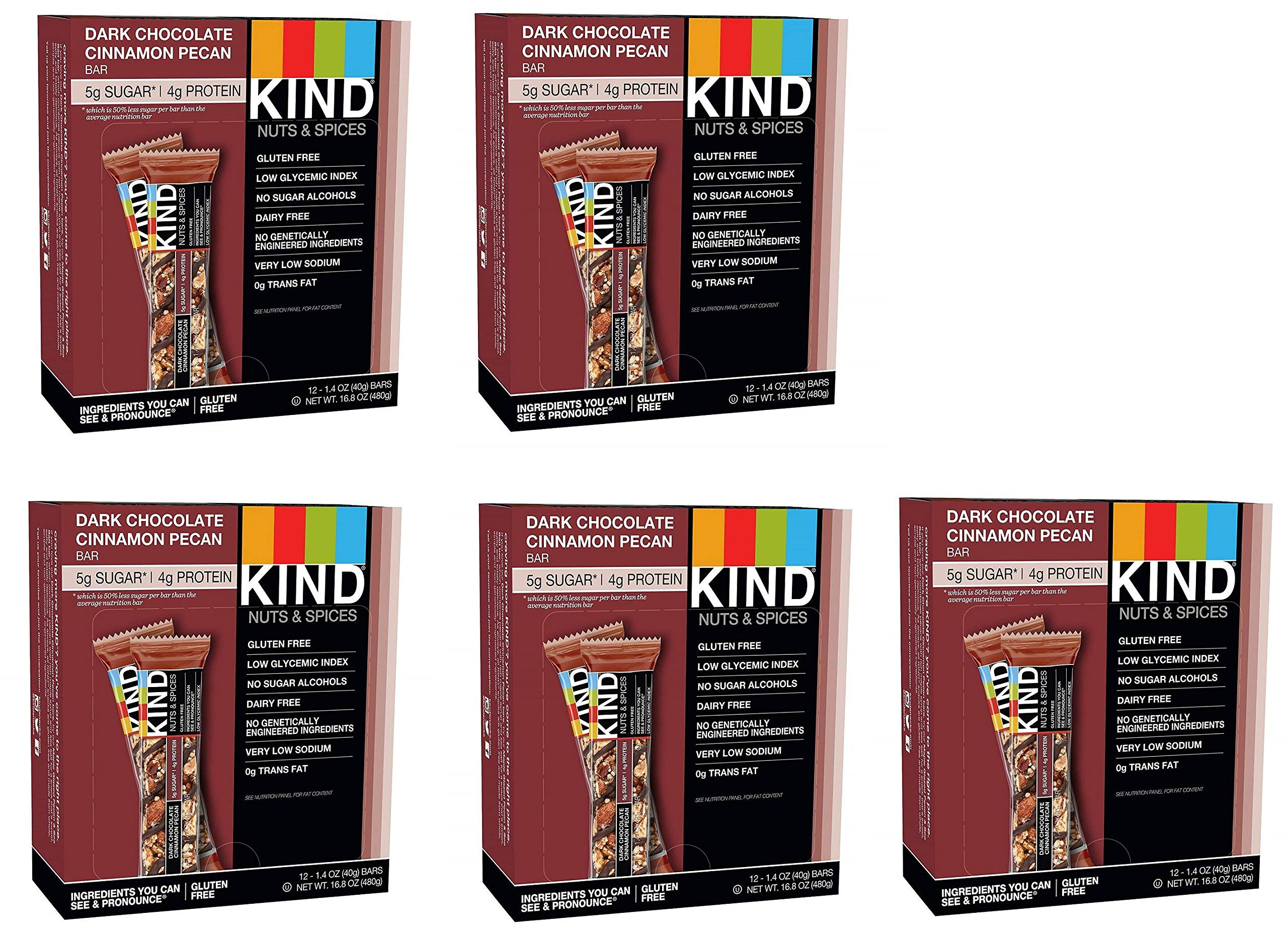 KIND Bars, Dark Chocolate Cinnamon Pecan, Gluten Free, Low Sugar, 1.4oz, 60 Bars
