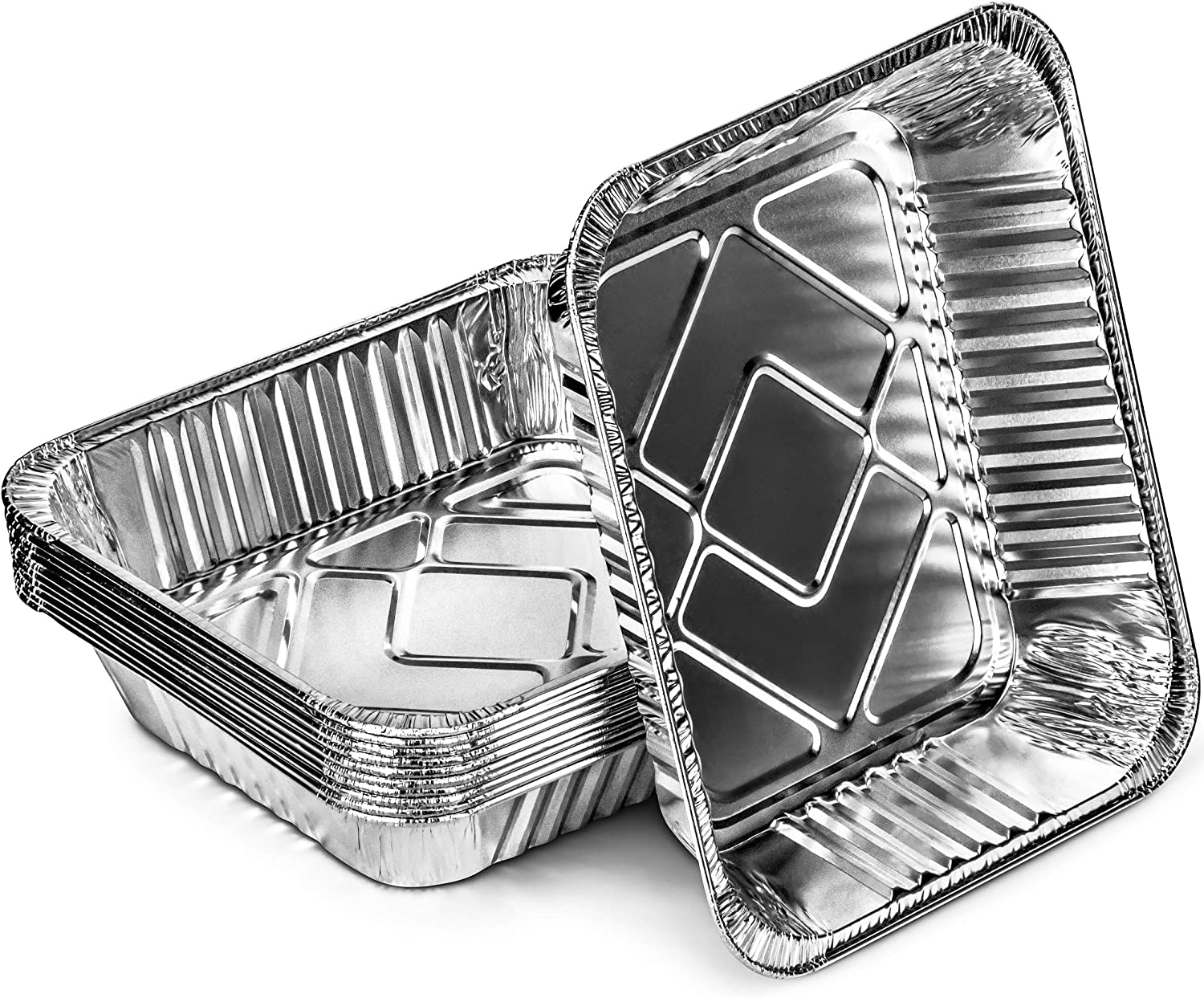 DecorRack 10 Aluminum Pans 9 x 13 Half-Size Steam Table Deep Heavy Duty Aluminum Pans Disposable Food Storage Foil Baking Pan for Cooking, Heating, Storing, Meal Prep (10 Pack)