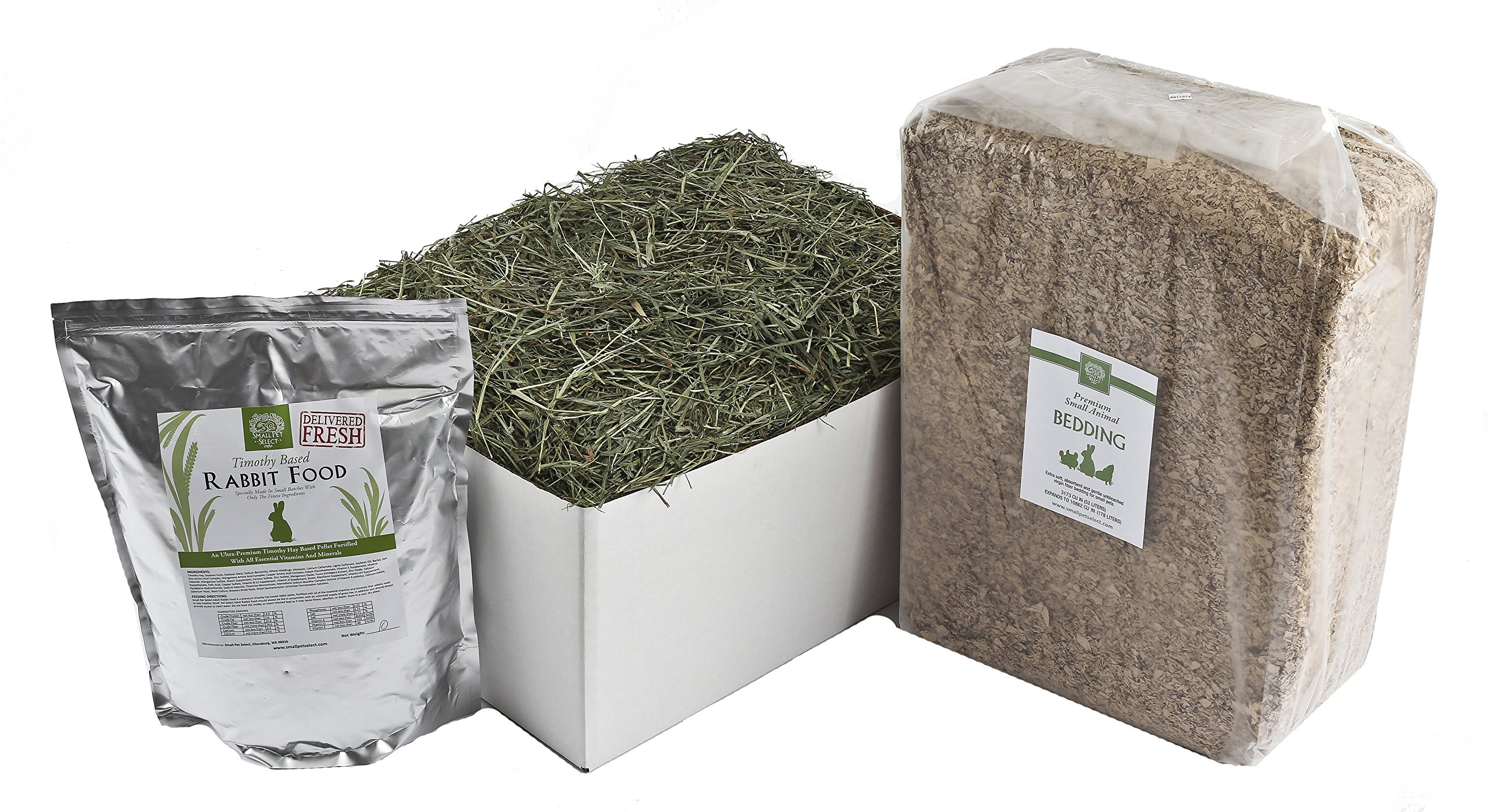 Small Pet Select Deluxe Combo Pack: Timothy Hay (20 Lb.), Rabbit Food (10 Lb.), Bedding (178L) by Small Pet Select