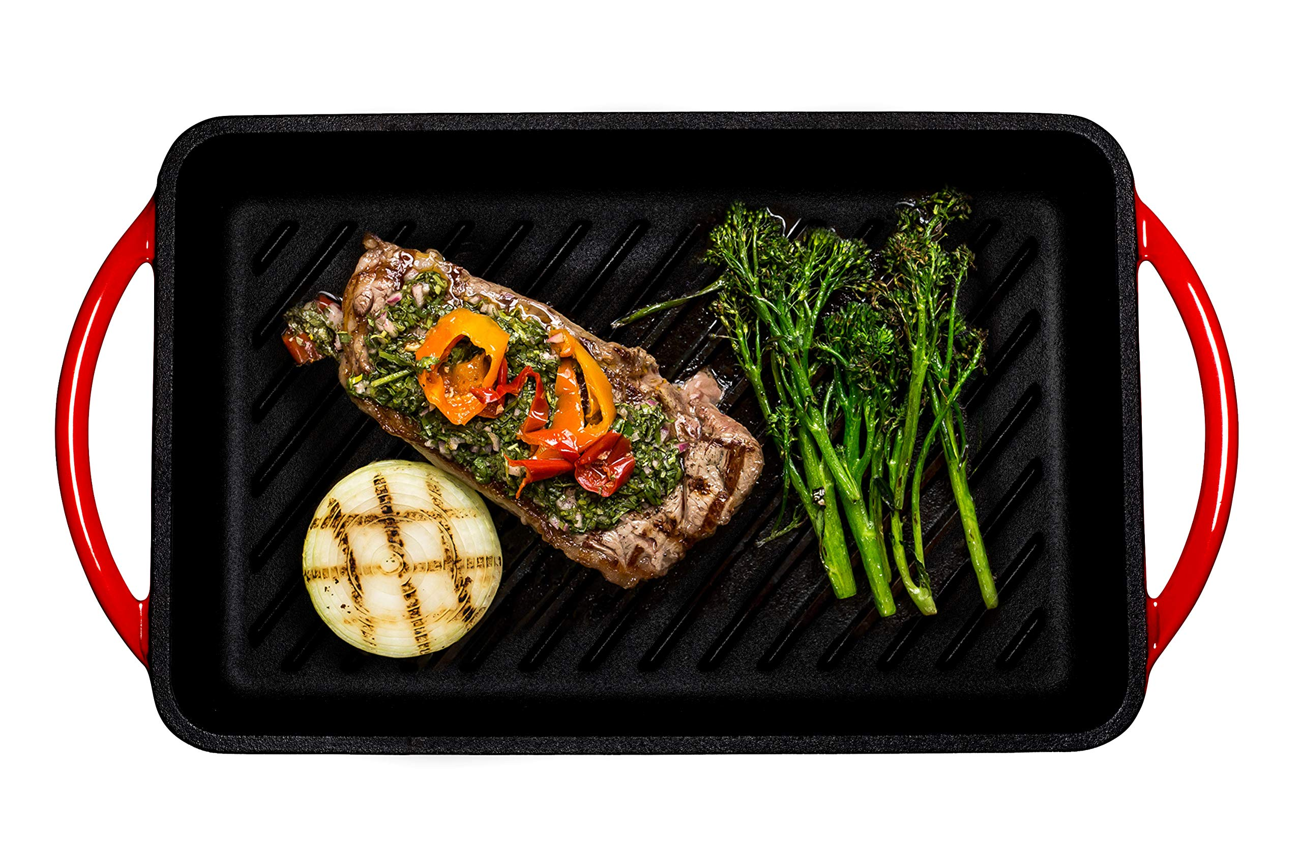 Enameled Cast-Iron Rectangular Grill Pan, Loop Handles, Fire Red, 9.5'' x 13.5'' by Bruntmor (Image #2)