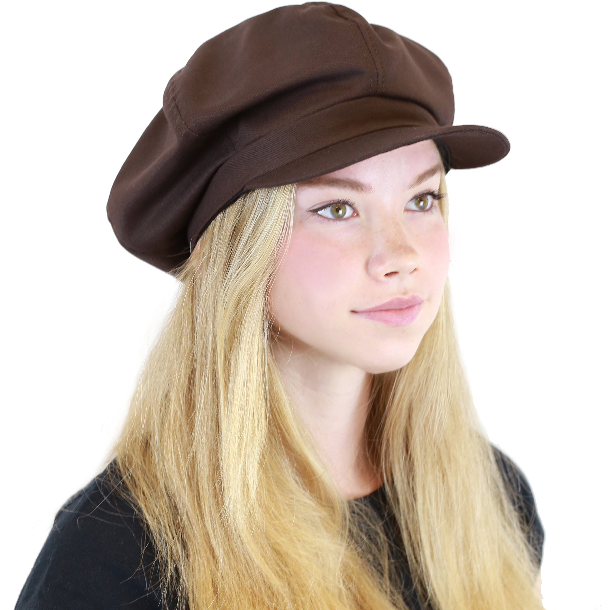 THE HAT DEPOT 100% Cotton Plain Blank 6 Panel Newsboy Gatsby Apple Cabbie Cap Hat Made in USA (Brown)