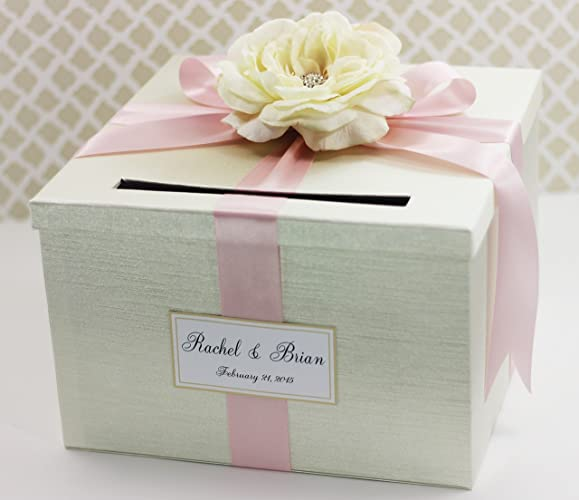 Amazon.com: Wedding Card Box Money Holder Cream Ivory and Light Pink ...