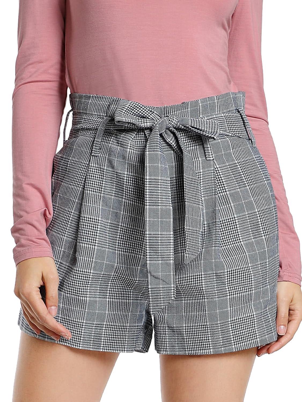 9157f9d82ffd SheIn Women's Tie Waist Inseam Pocket Side Plaid Shorts: Amazon.in:  Clothing & Accessories