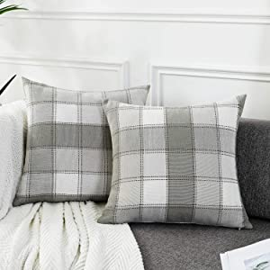 AmHoo Pack of 2 Farmhouse Plaid Check Throw Pillow Covers Set Case Cotton Linen Decorative Pillowcases Cushion Cover for Couch Bench Sofa 20x20Inch Light Grey
