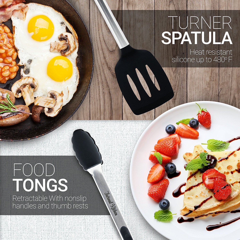 Kitchen utensil set - cooking utensils - kitchen tools - spatula - free bonus: corkscrew wine bottle opener stopper - spatula - tongs - whisk - soup ladle - pasta server - nonstick utensils set