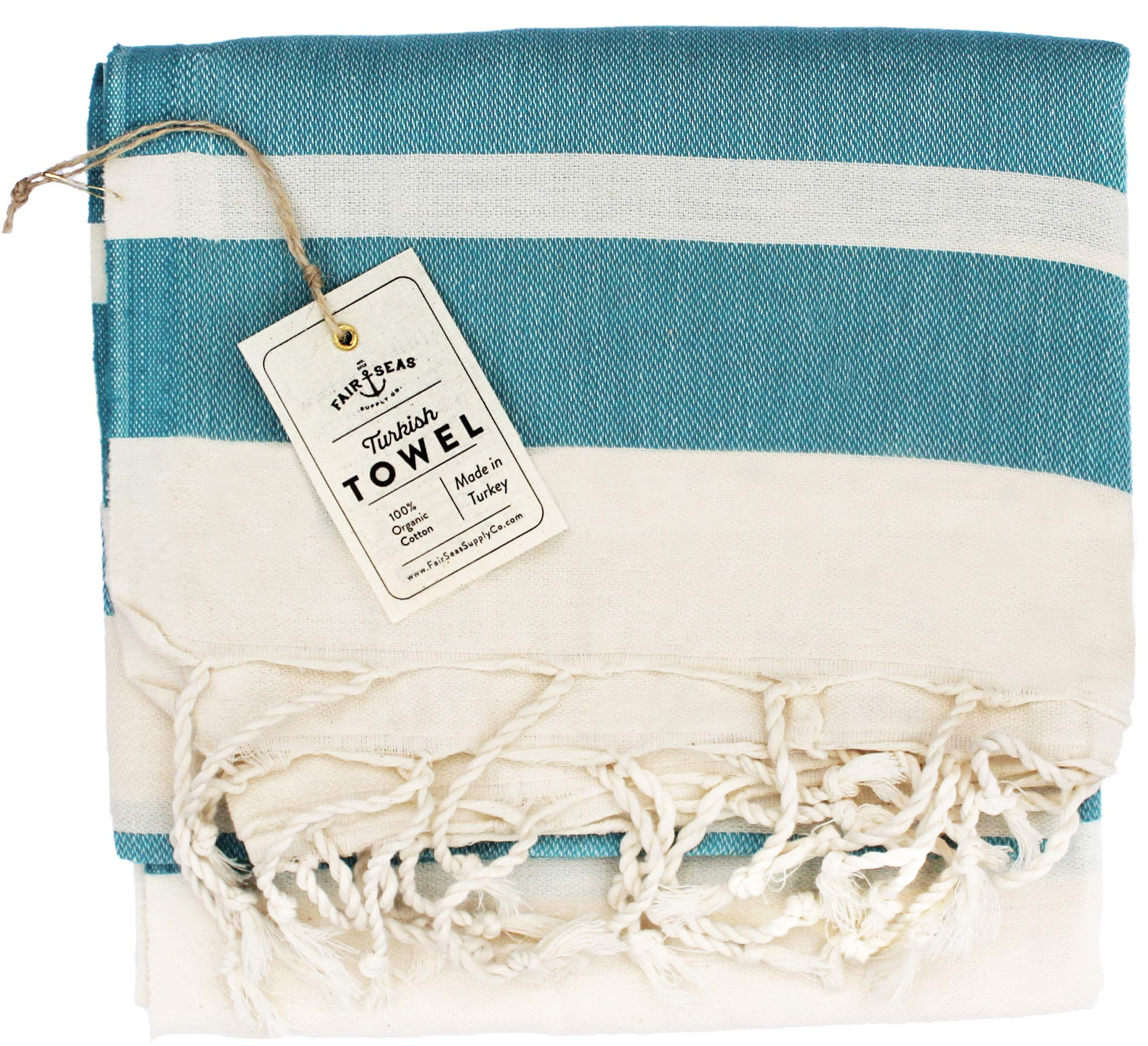 Fair Seas Supply Co. Turkish Towel, Peshtemal Towel - 100% Organic Turkish Cotton - Quick Dry and Lightweight, 39'' x 71'' Large (Caribbean Blue)