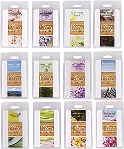 Tranquil Retreat Wax Melts- 12 (2.5 oz) Assorted Scented Wax Warmer Cube Sets- Rose, Lavender, Jasmine, Pine, Sea Salt & Linen, Mountain Air, Lilac, Sandalwood, Green Tea, Lemongrass, Aloha, Berry