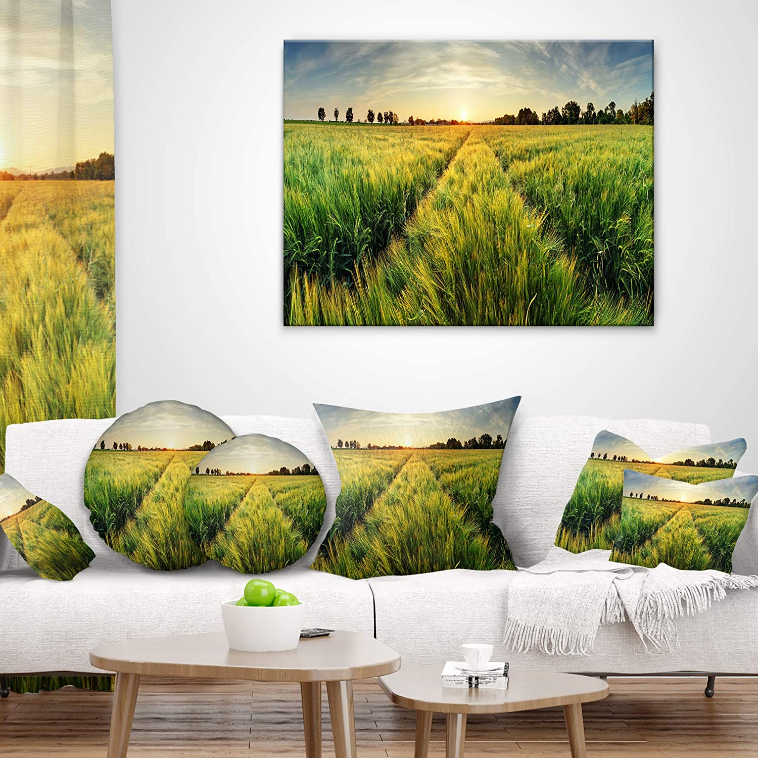 Sofa Throw Pillow 20 Designart CU9202-20-20-C Green Wheat Field at Sunset Landscape Photography Round Cushion Cover for Living Room