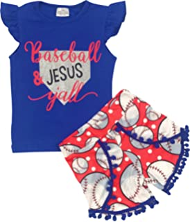 BNY Corner Girl Kids 2 Pieces Baseball T-Shirt Top Short Summer Pants Set 2T-8