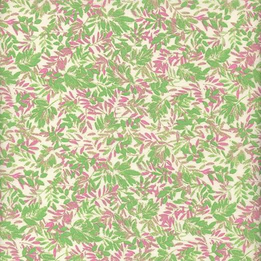 Tela verde y rojo viejo hojas de helecho (Colección un jardín rústico - rosa y menta) - 100% algodón suave | ancho: 140cm (1 metro): Amazon.es: Hogar
