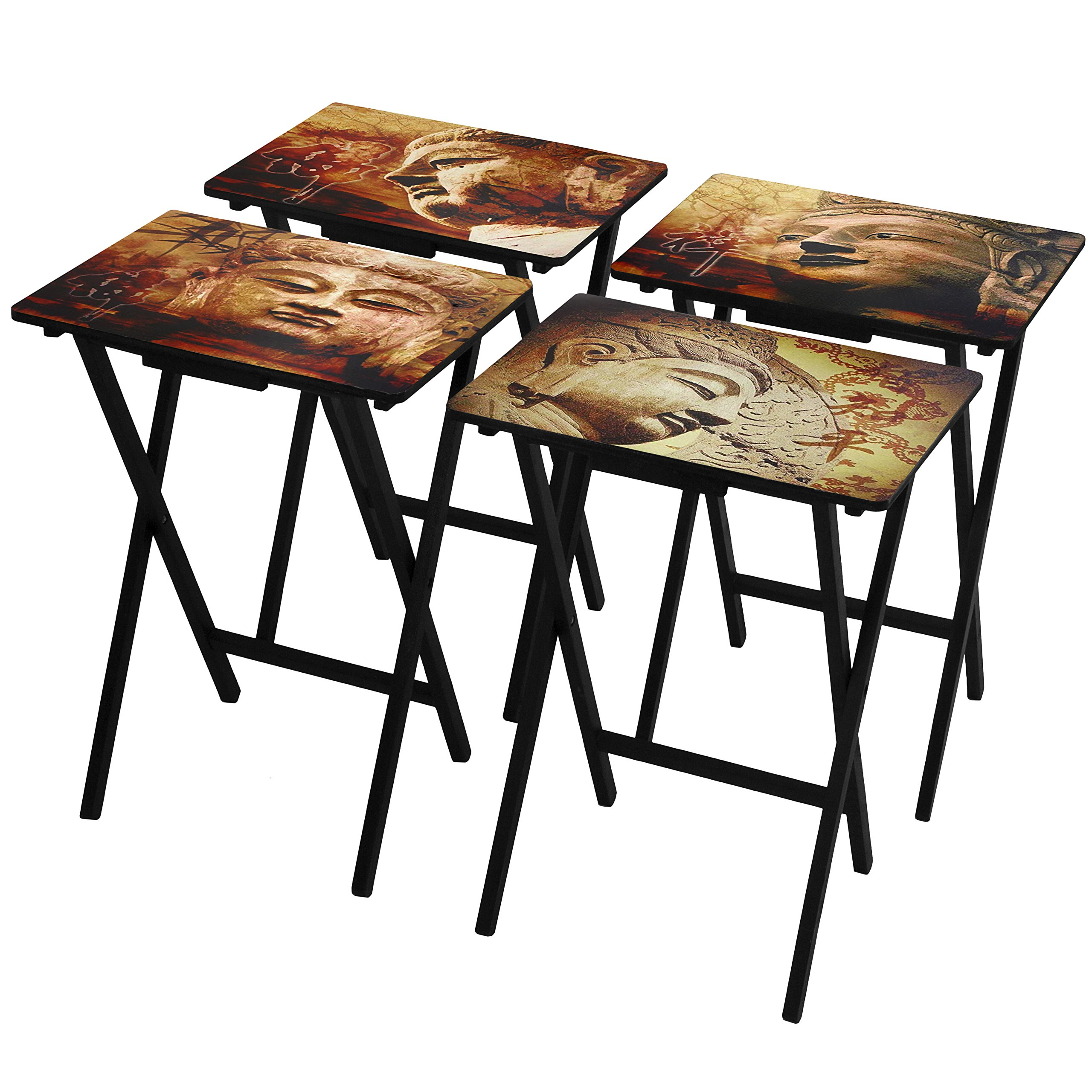 Oriental Furniture Buddhas TV Tray Set with Stand by ORIENTAL FURNITURE