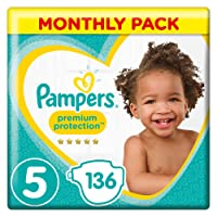 Pampers Premium Protection Size 5, 136 Nappies, (11-16 kg)/(11-23kg), Monthly Pack