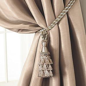"Elrene Home Fashions 26865902518 Tassel Tieback Rope Cord Fabric Single Window Curtain Treatment Drape Accessories, 24"", Ivory"
