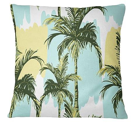 S4Sassy Cojín cuadrado tropical de la palmera cubierta banda ...