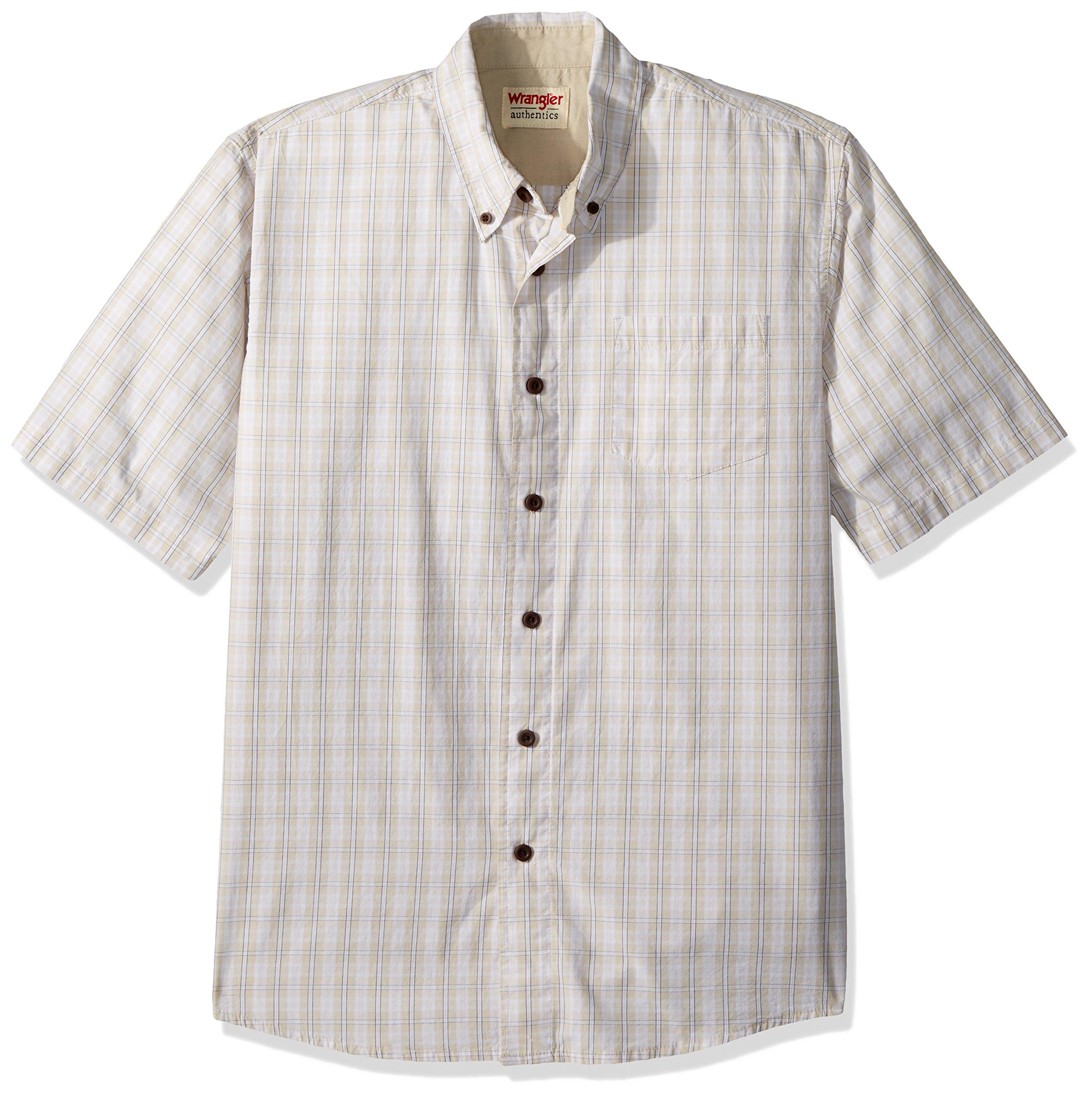 Wrangler Authentics Men's Short Sleeve Classic Plaid Shirt, drizzle, XL