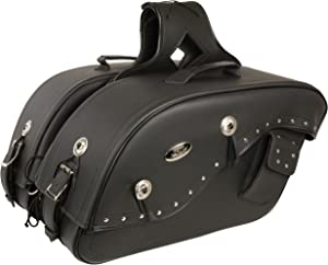"""Cruiser Style Studded Throw Over Saddlebag w/ Gun Holster Fits Most All Harley Davidson Bikes - """"See Picture For How To Size Details"""""""