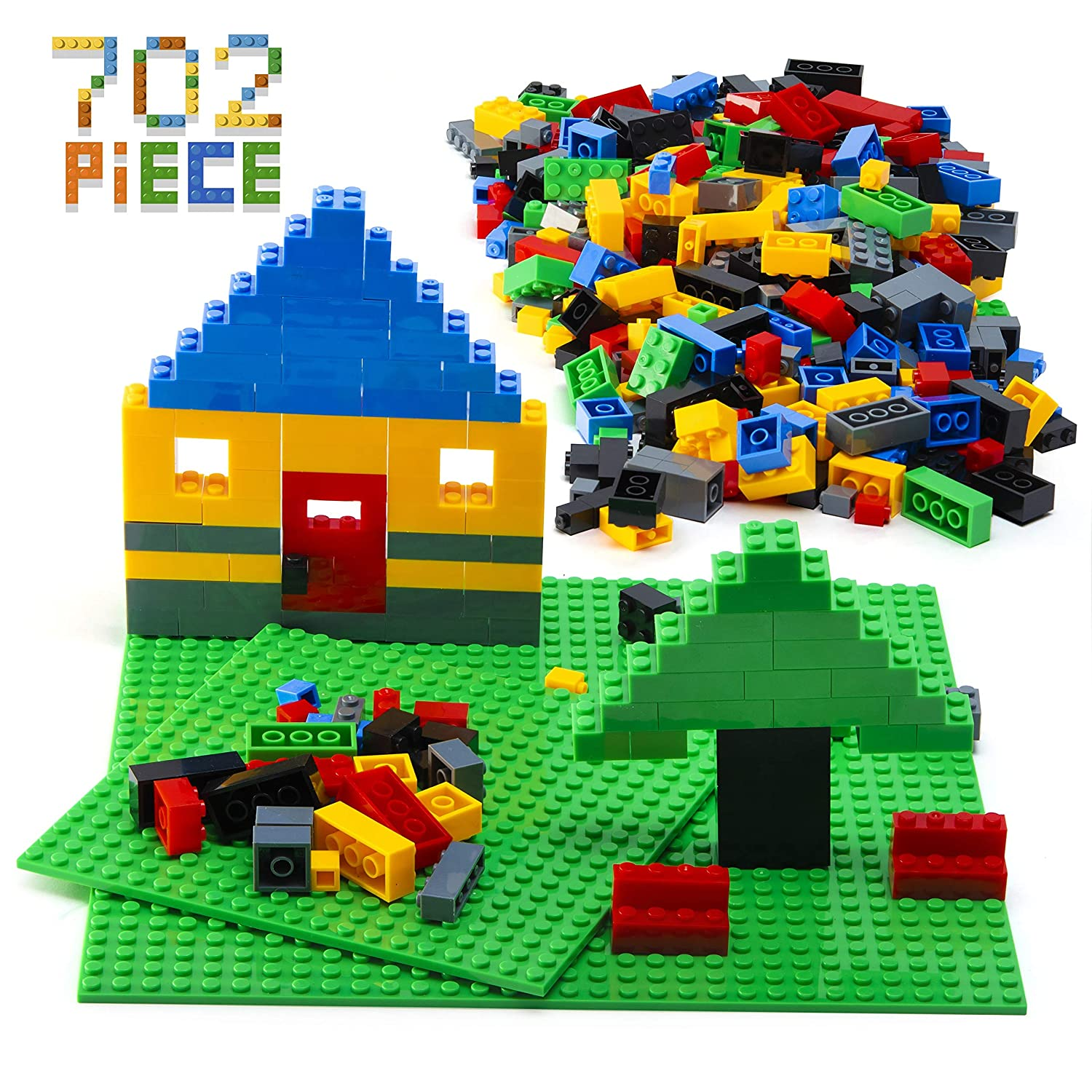 Prextex 700 Piece Building Bricks with 2 Boards Classic Colors Compatible with All Major Brands 700 Piece Small Building Blocks