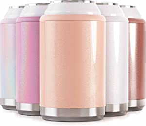 Maars Standard Can Cooler for Beer & Soda | Stainless Steel 12oz Beverage Sleeve, Double Wall Vacuum Insulated Drink Holder - Blush Glitter