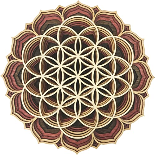 Activated Art 11″ Flower Of Life Sacred Geometry Wooden Laser Cut Mandala Wall Art Home Decor Meditation Altar Gift