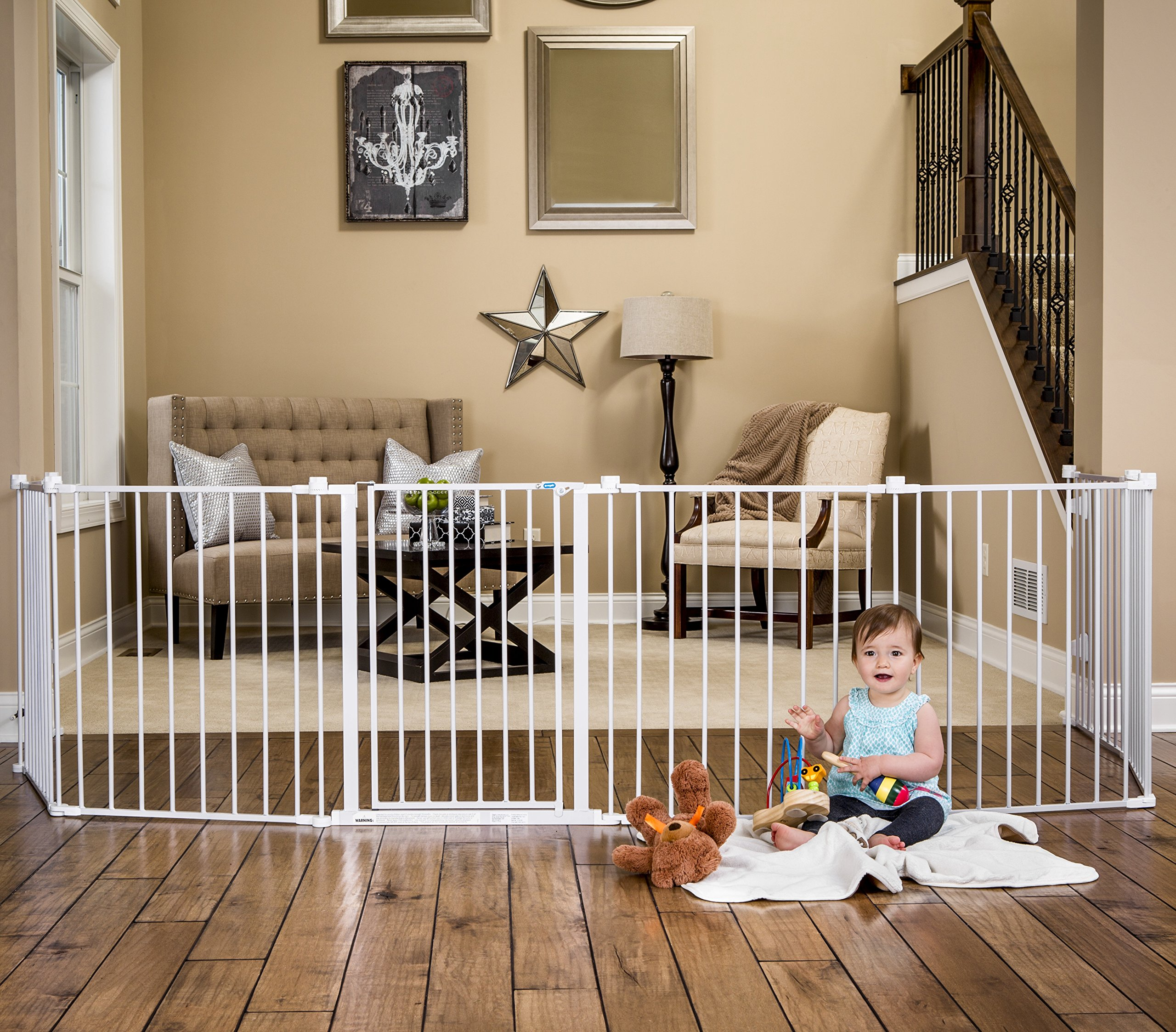 Wide Safety Metal Gate Baby For Pet Dog Extra Playpen Indoor Outdoor Child  Fence | EBay
