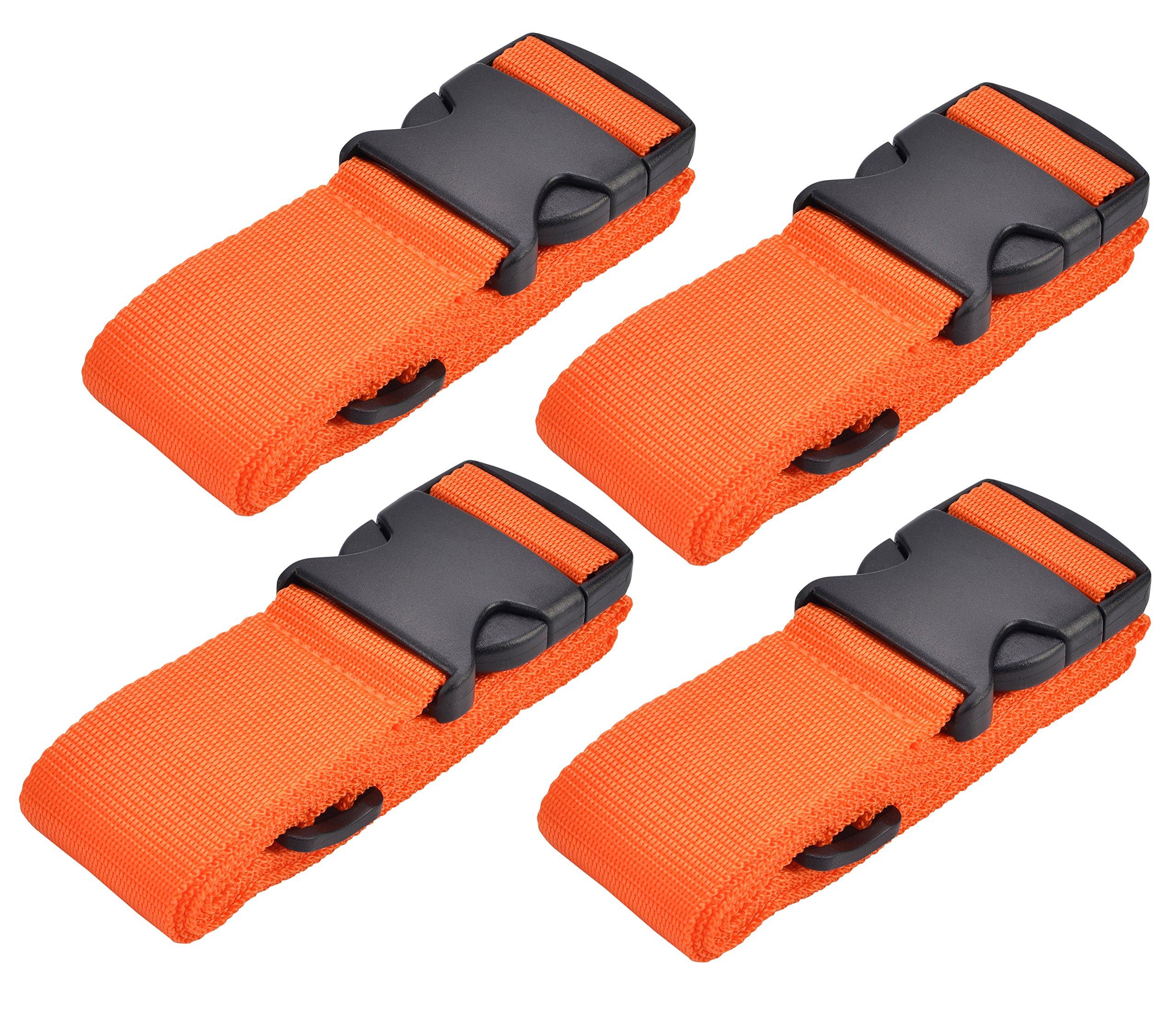 WeBravery Adjustable Luggage Strap Suitcase Belt Bag Straps Travel Accessories, Orange, 4 Piece