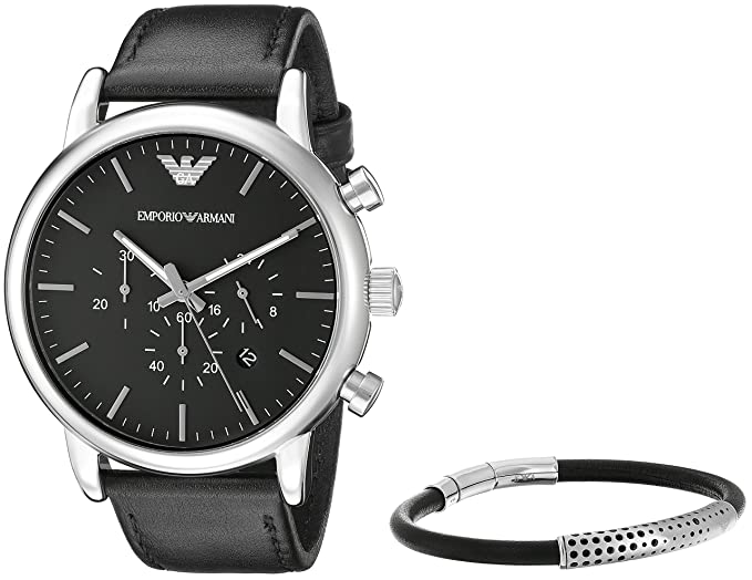 48186e15e0 Buy Emporio Armani Chronograph Black Dial Unisex Watch - AR8029 Online at  Low Prices in India - Amazon.in