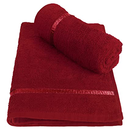 Story@Home 100% Cotton Soft Towel Set of 2 Pieces, 450 GSM - 2 Hand Towels - Dark Red